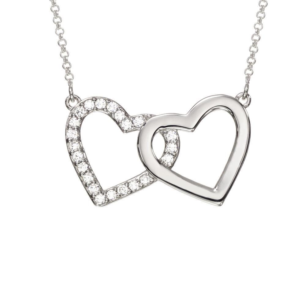 Perfektes Paket - Zirkonia Herz Halskette mit Geschenkbox und vorgedruckter Geschenknotiz - 1