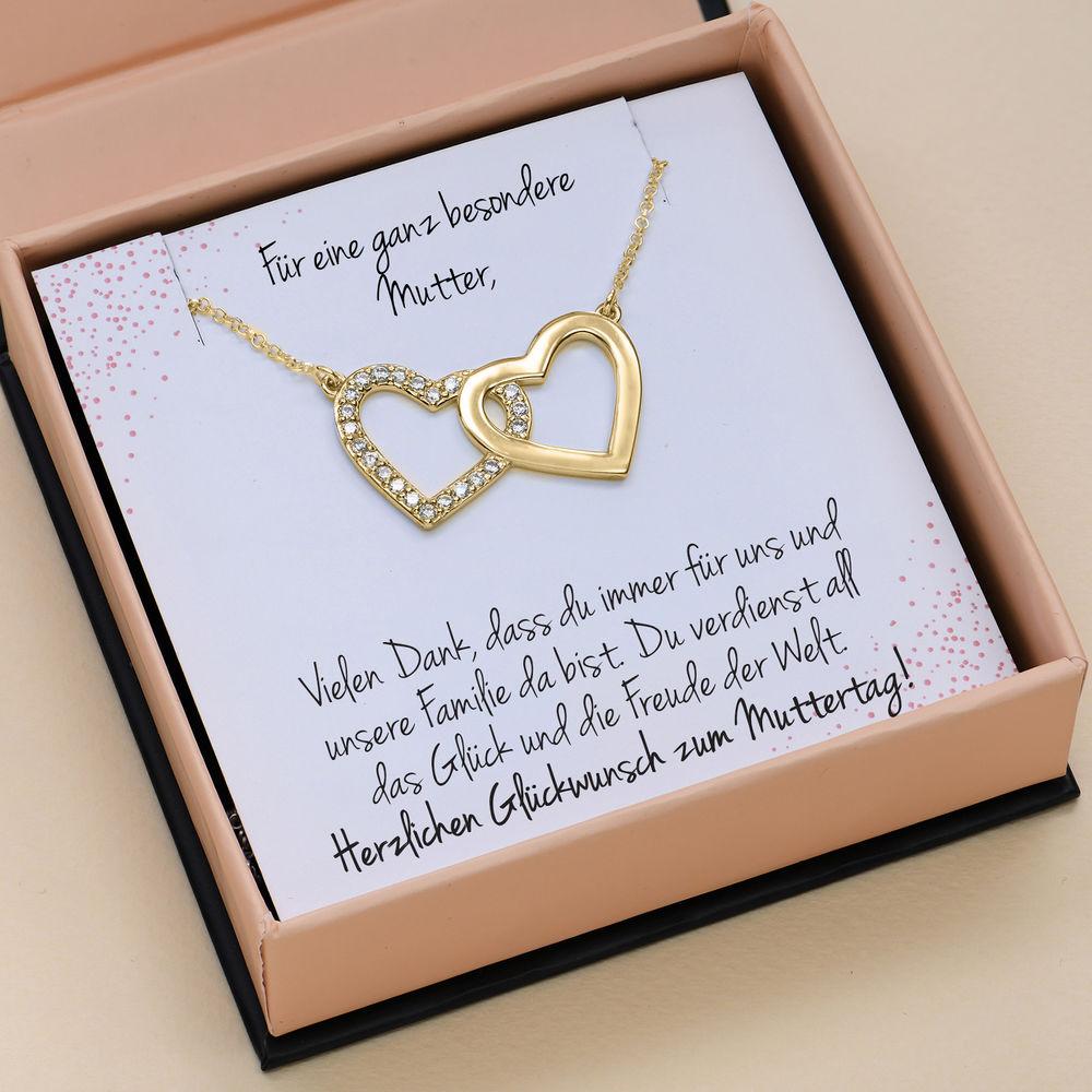 Perfektes Paket - Zirkonia Herz Halskette mit Geschenkbox und vorgedruckter Geschenknotiz aus 750er vergoldetes 925er Silber