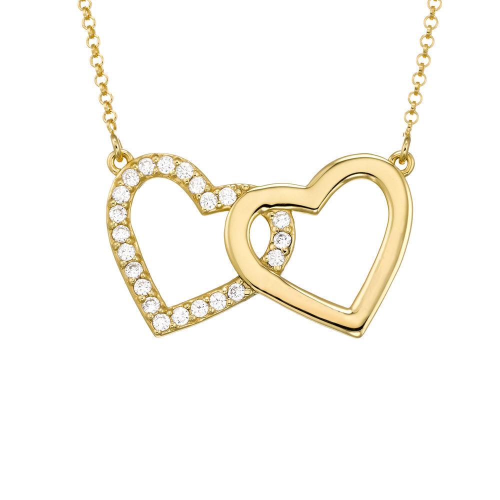 Perfektes Paket - Zirkonia Herz Halskette mit Geschenkbox und vorgedruckter Geschenknotiz aus 750er vergoldetes 925er Silber - 1