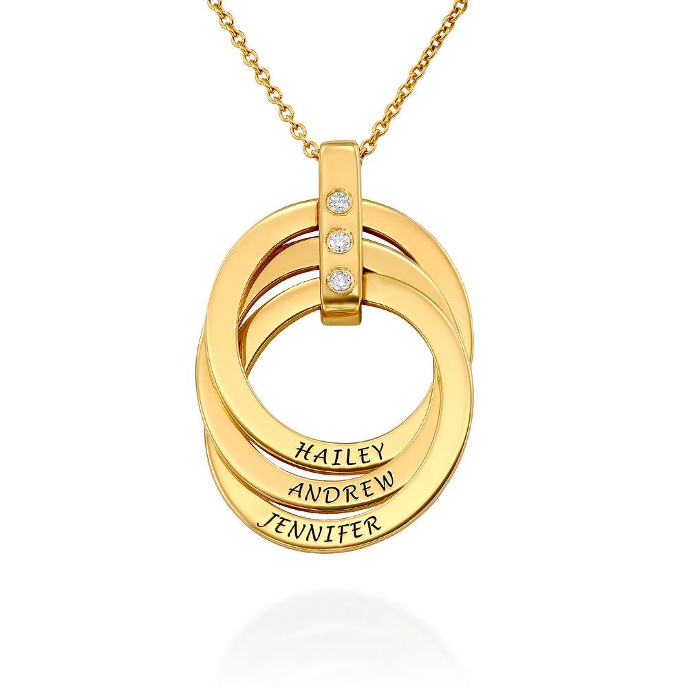 Halskette mit gravierten russischen Ringen aus Gold - Vermeil mit Diamant