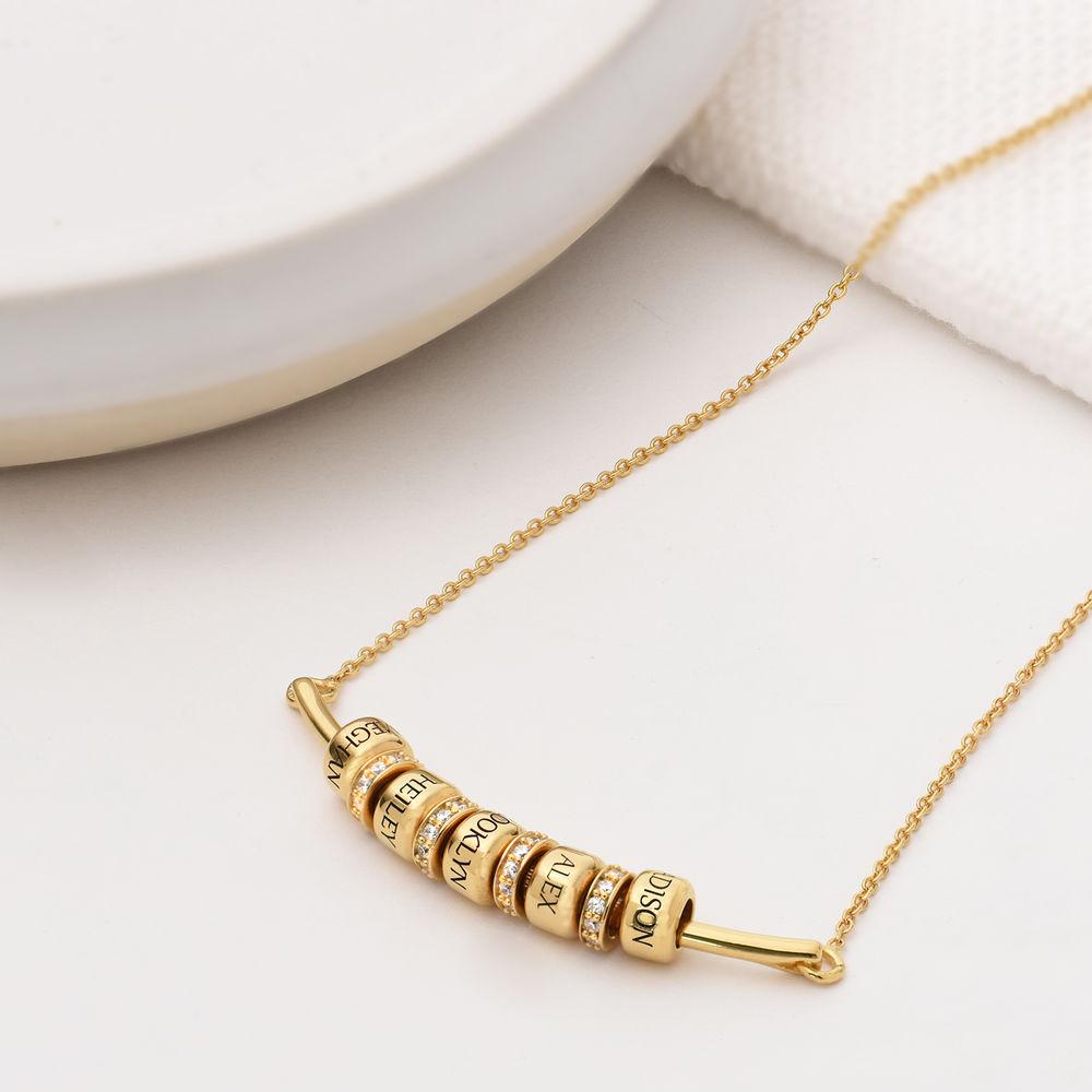 Smile-Barrenkette mit personalisierten Perlen aus Vergoldetes 925er Sterling Silber - 1