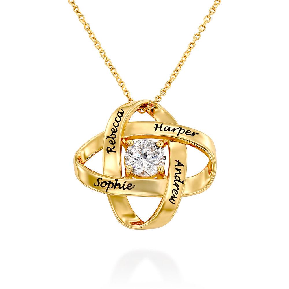 Gravierte Eternal-Halskette mit kubischen Zirkonia in Goldplattierung