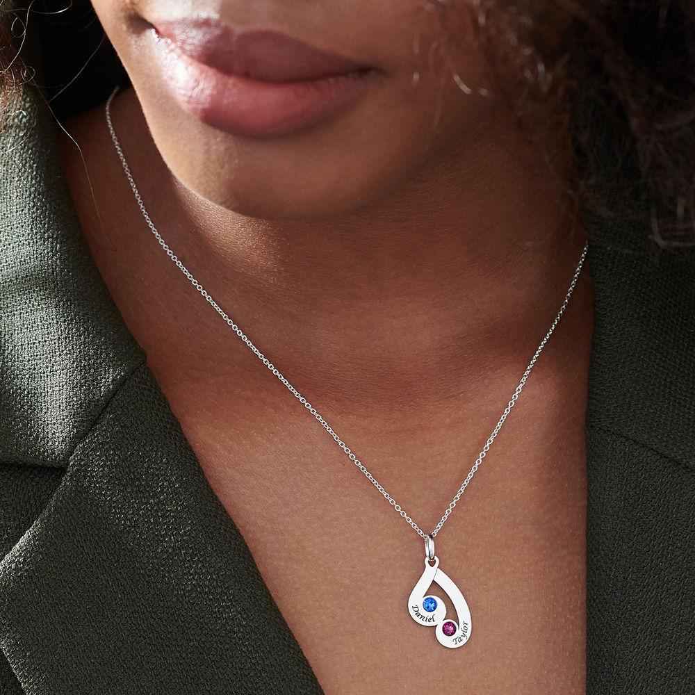 Gravierte Familienanhänger-Halskette mit Geburtssteinen aus Sterlingsilber - 6