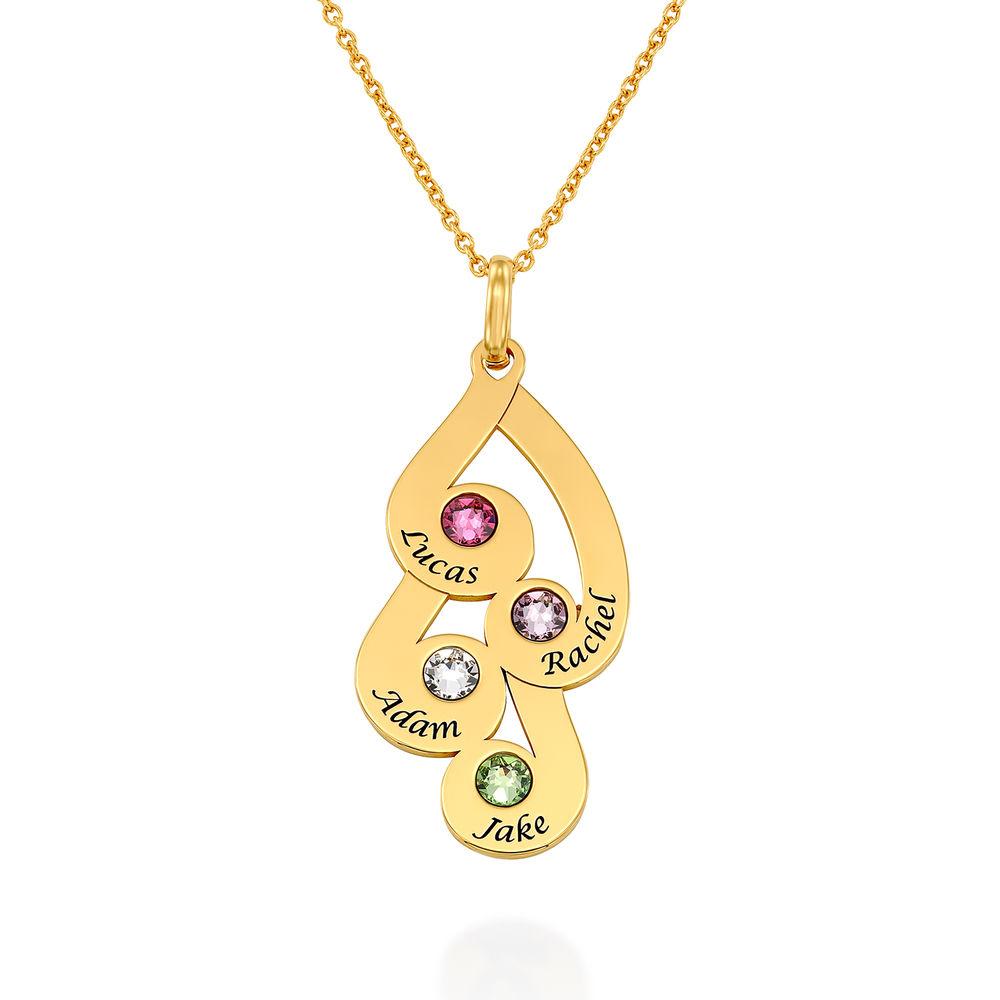 Gravierte Familienanhänger-Halskette mit Geburtssteinen aus 750er vergoldetes 925er Silber