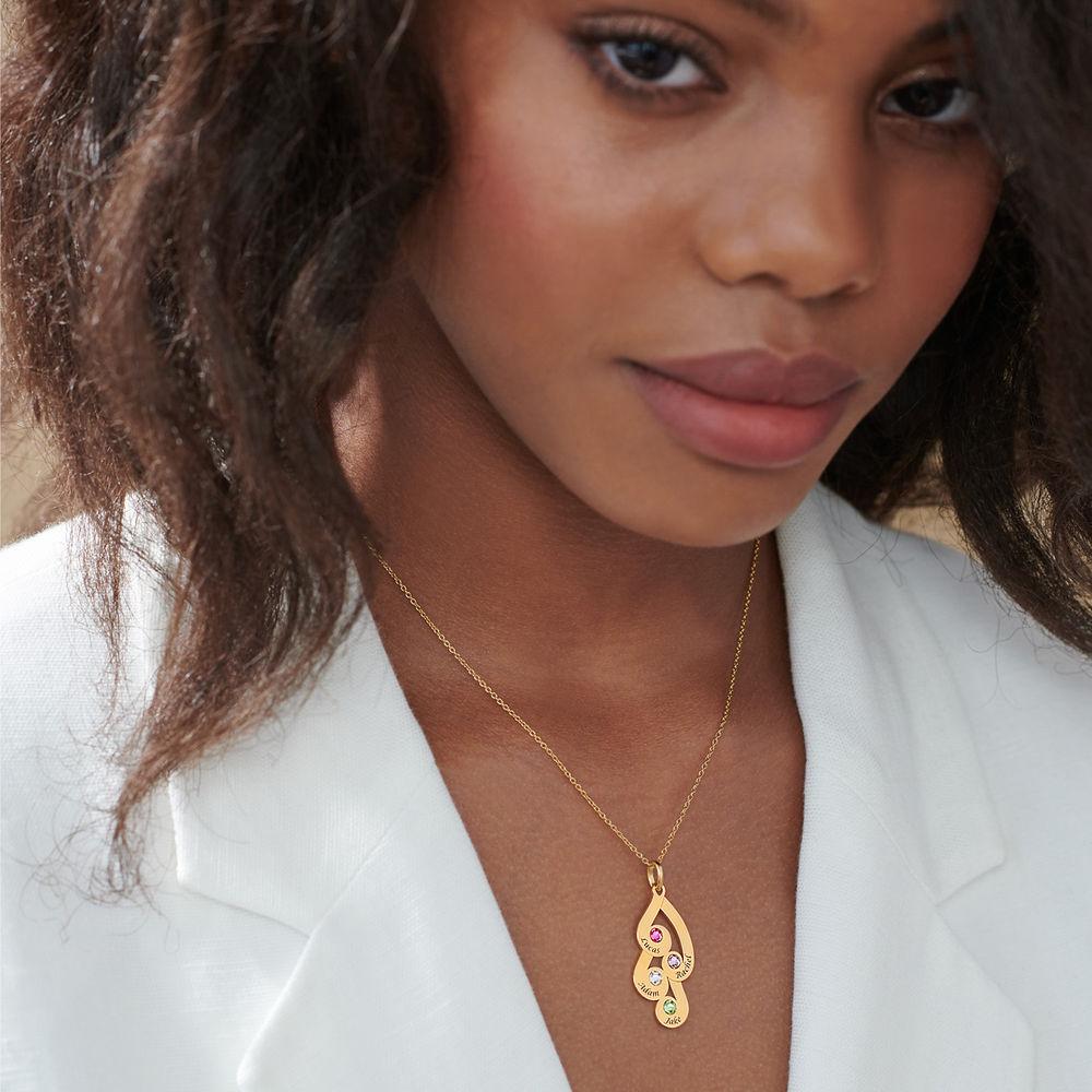 Gravierte Familienanhänger-Halskette mit Geburtssteinen aus 750er vergoldetes 925er Silber - 4