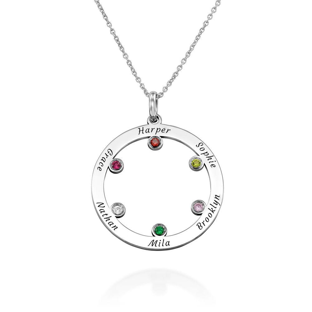 Die Familienkreis Halskette mit Geburtssteinen aus Sterlingsilber