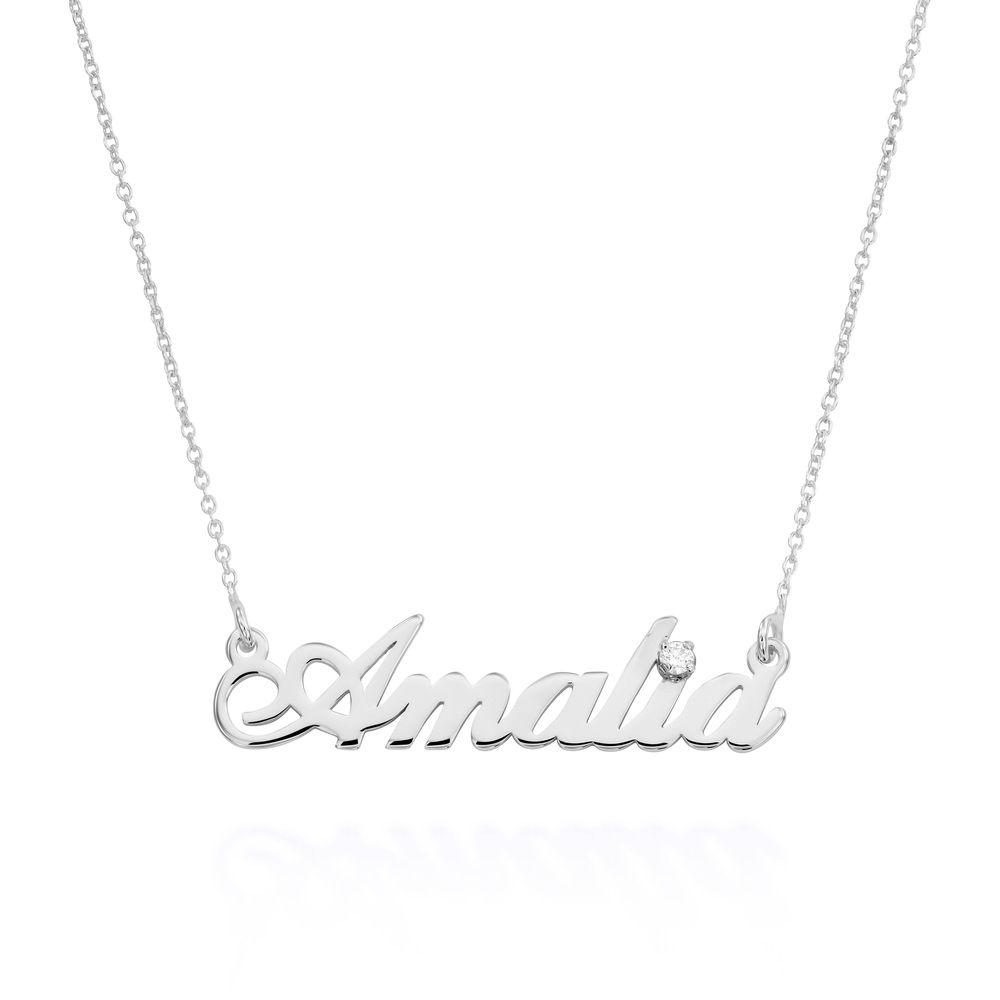 Kleine klassische Namenshalskette mit 0,05 ct Diamant aus Sterlingsilber