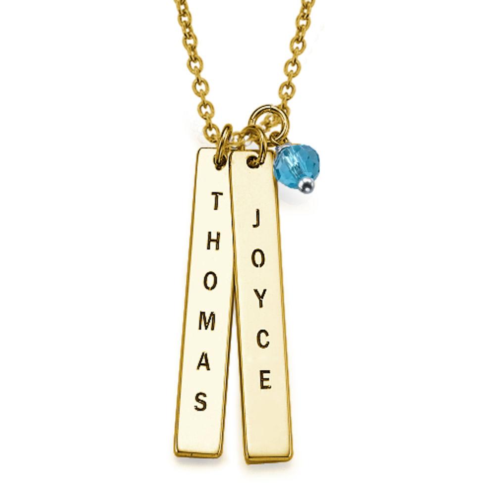 750er vergoldete Silber Halskette mit graviertem Namensanhänger - 1