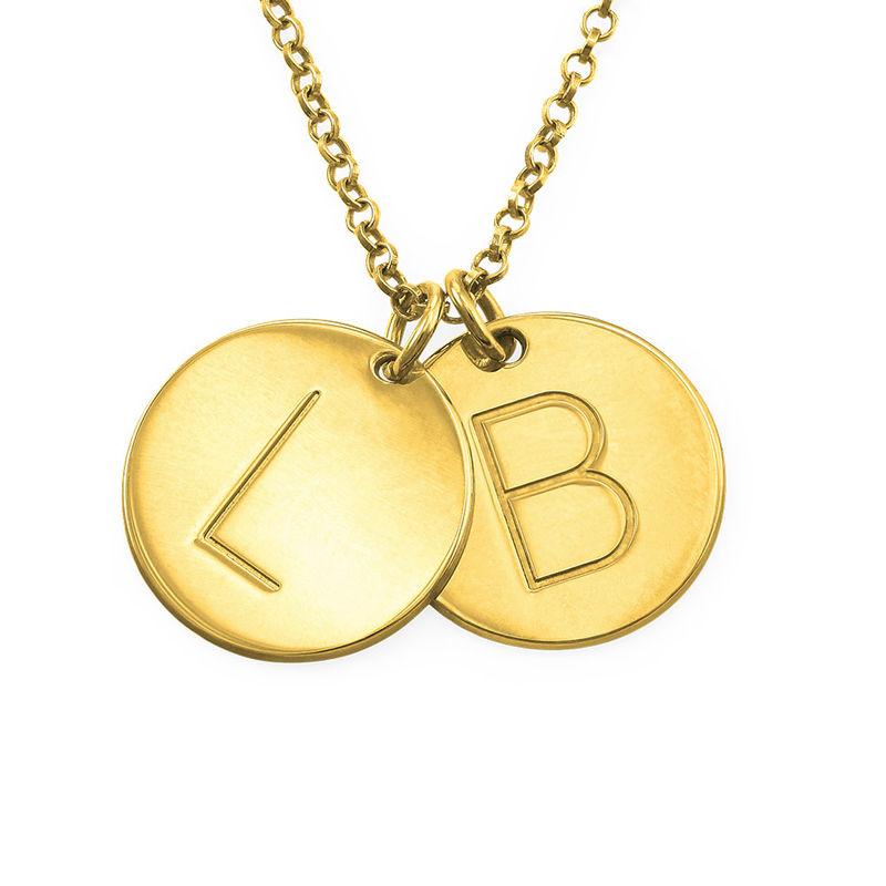 Vergoldete Halskette mit Buchstaben und mit gravierbarem runden Anhänger - 1