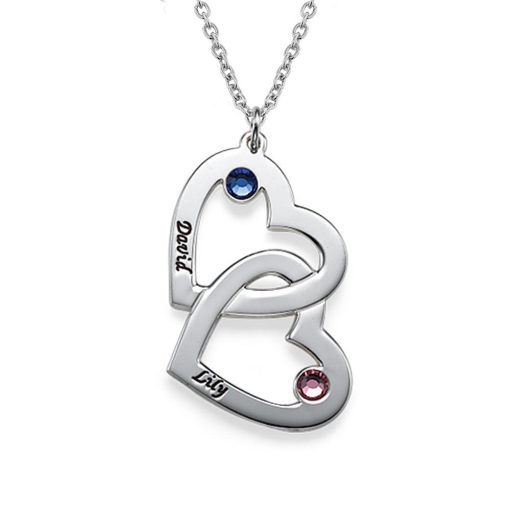 925er Silber Herzkette mit Gravur und Kristall