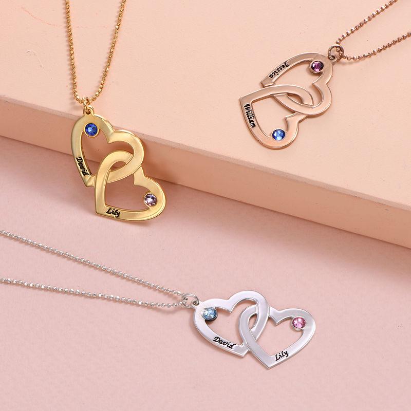 Romantische Herz-an-Herz Halskette mit Geburtssteinen aus 18k vergoldetem Silber - 2