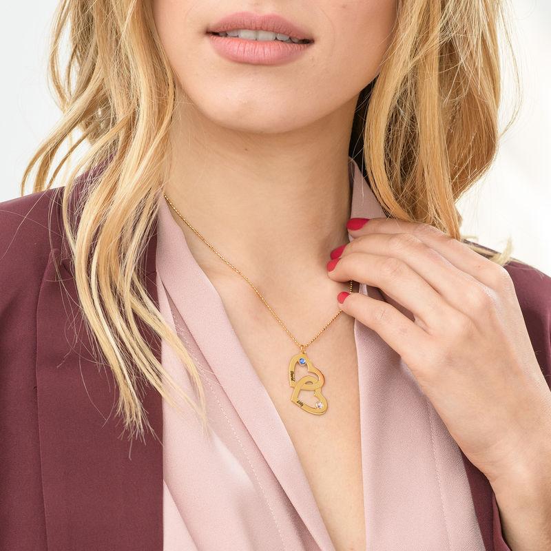 Romantische Herz-an-Herz Halskette mit Geburtssteinen aus 18k vergoldetem Silber - 3