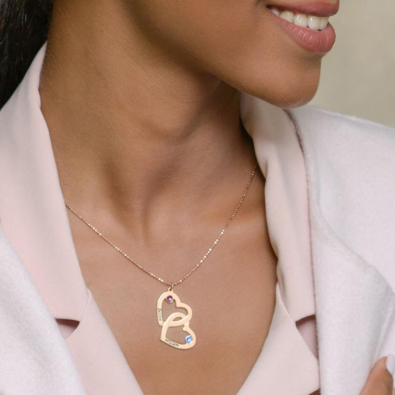 Romantische Herz-an-Herz Halskette mit Geburtssteinen aus 18k vergoldetem Silber - 4