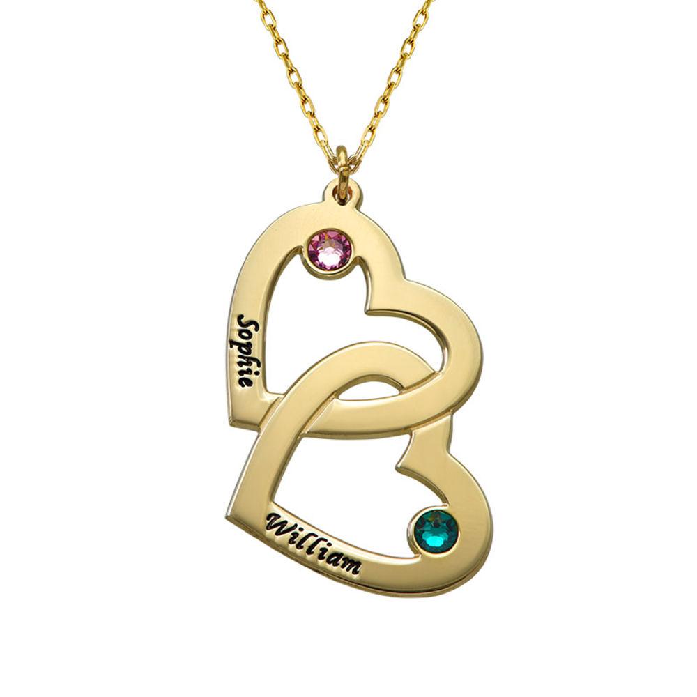 Geburtssteinkette aus 417er Gold mit Herz-in-Herzkette