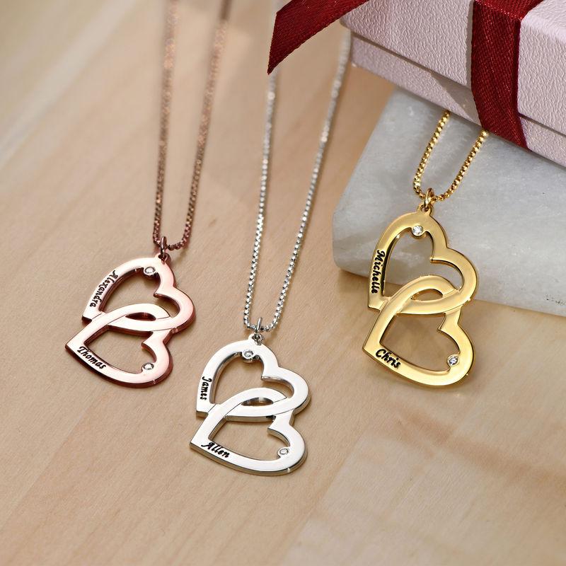 Silberne Herz-in-Herz-Halskette mit Diamanten - 1