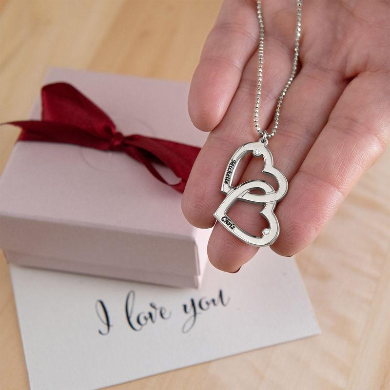 Silberne Herz-in-Herz-Halskette mit Diamanten - 3