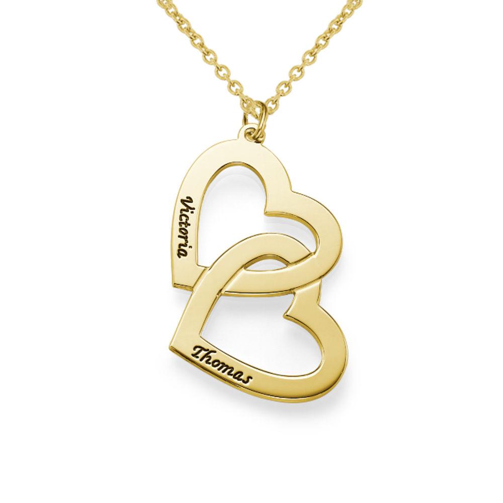 18k Vergoldete Herzen in einer Herzkette