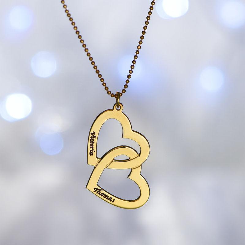 Herz-in-Herz-Kette mit Gravur aus 750er-Gold-Vermeil - 1