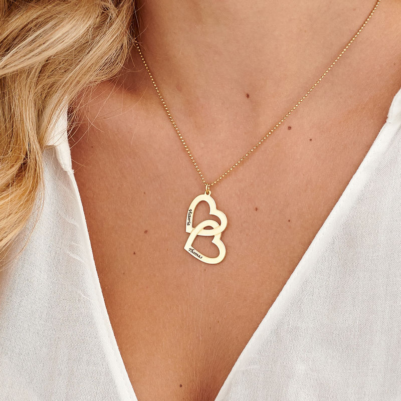 Herz-in-Herz-Kette mit Gravur aus 750er-Gold-Vermeil - 3