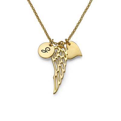 Vergoldete Engelsflügel Halskette mit Buchstabe