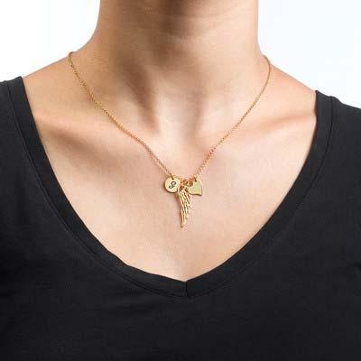 Vergoldete Engelsflügel Halskette mit Buchstabe - 1
