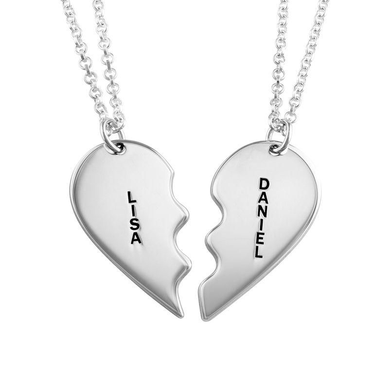 Gebrochene Herzkette für Pärchen in Silber