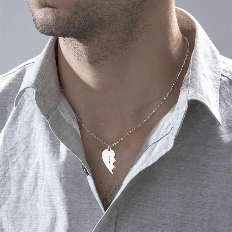 Gebrochene Herzkette für Pärchen in Silber - 3