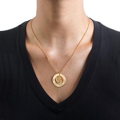 Vergoldete herzförmige Familien Stammbaum Halskette - 1