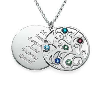 Filigrane Stammbaum Halskette mit Geburtssteinen
