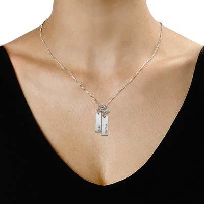 Kette mit Gravur und hängender Perle - 1