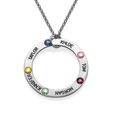 Gravierte Geburtsstein Halskette für Mütter