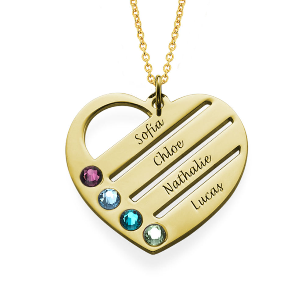 Vergoldete Herzkette für Mutter mit Geburtssteinen