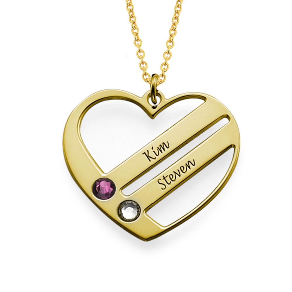 Vergoldete Herzkette für Mutter mit Geburtssteinen - 1