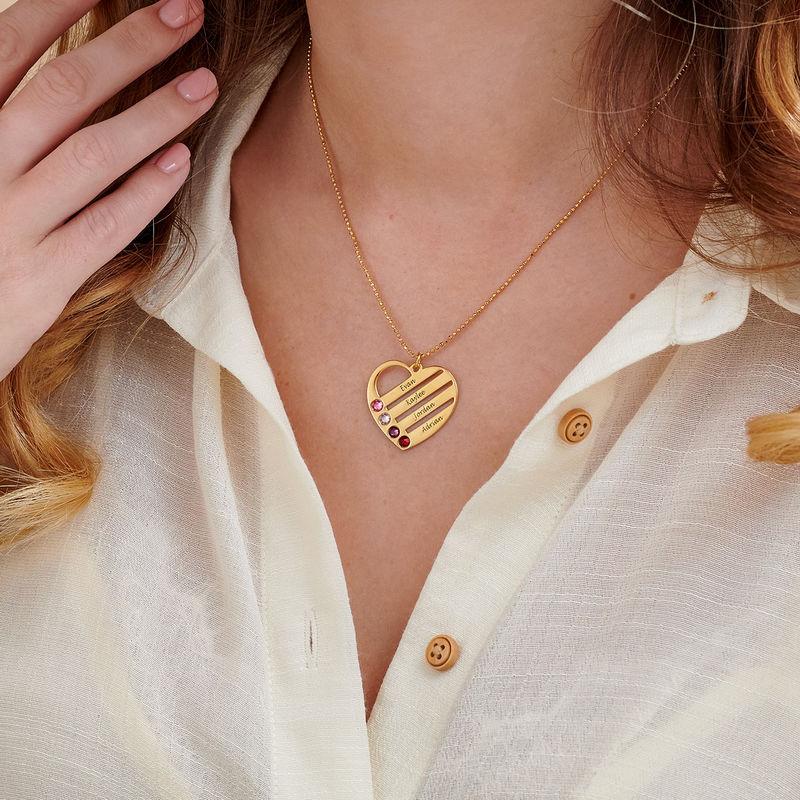 Vergoldete Herzkette für Mutter mit Geburtssteinen - 2
