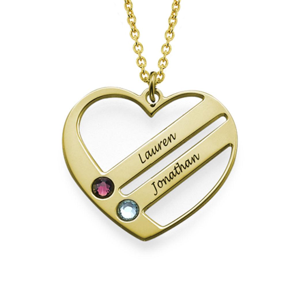 Gold Vermeil Herzkette mit Geburtssteinen - 1