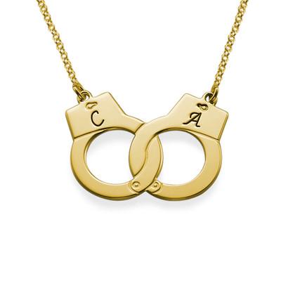 750er vergoldete 925er Silber Handschellenkette