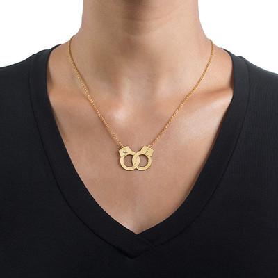 750er vergoldete 925er Silber Handschellenkette - 1