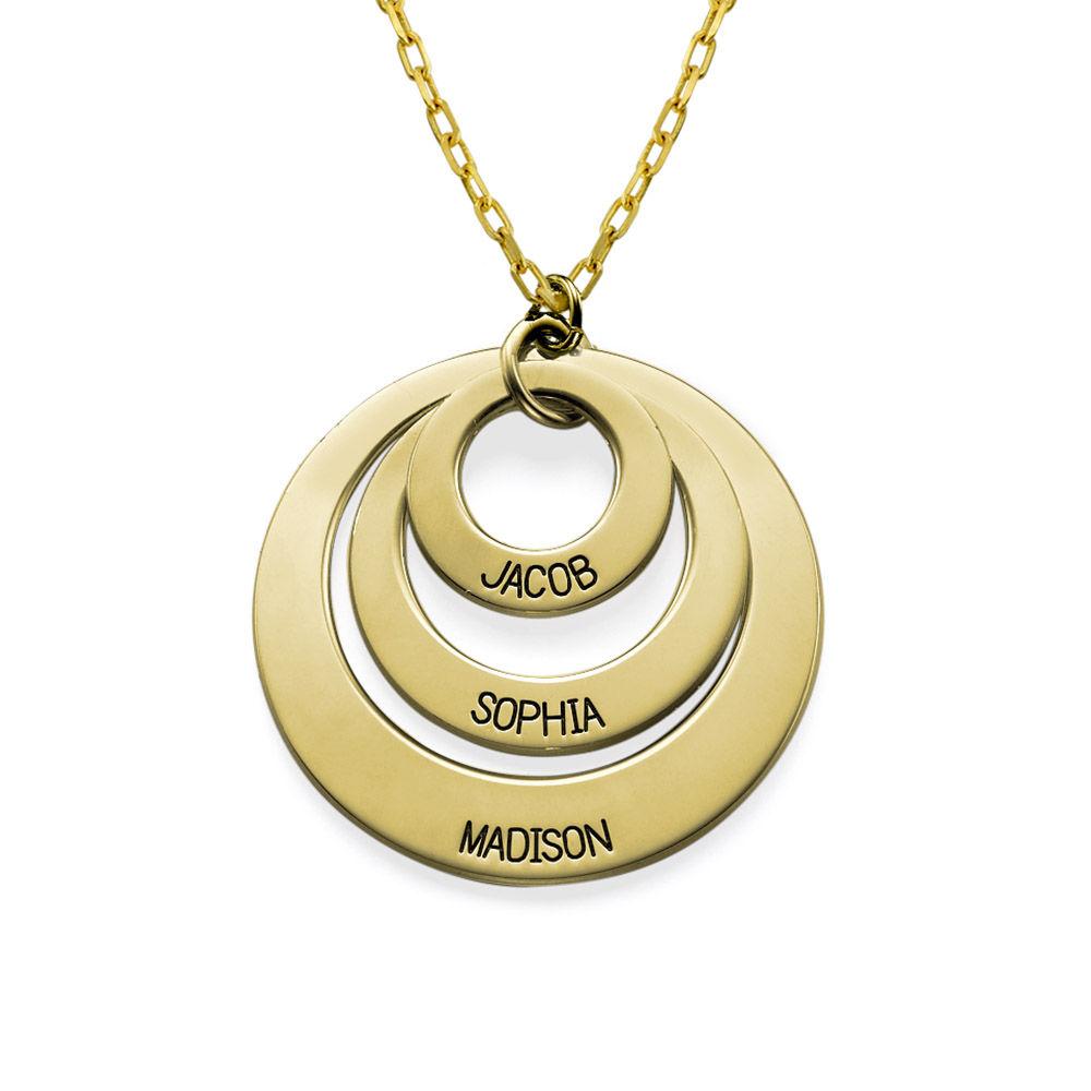 Gravierte 417er Gold Kette mit drei Ringen für Mütter