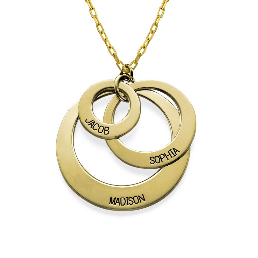 Gravierte 417er Gold Kette mit drei Ringen für Mütter - 1