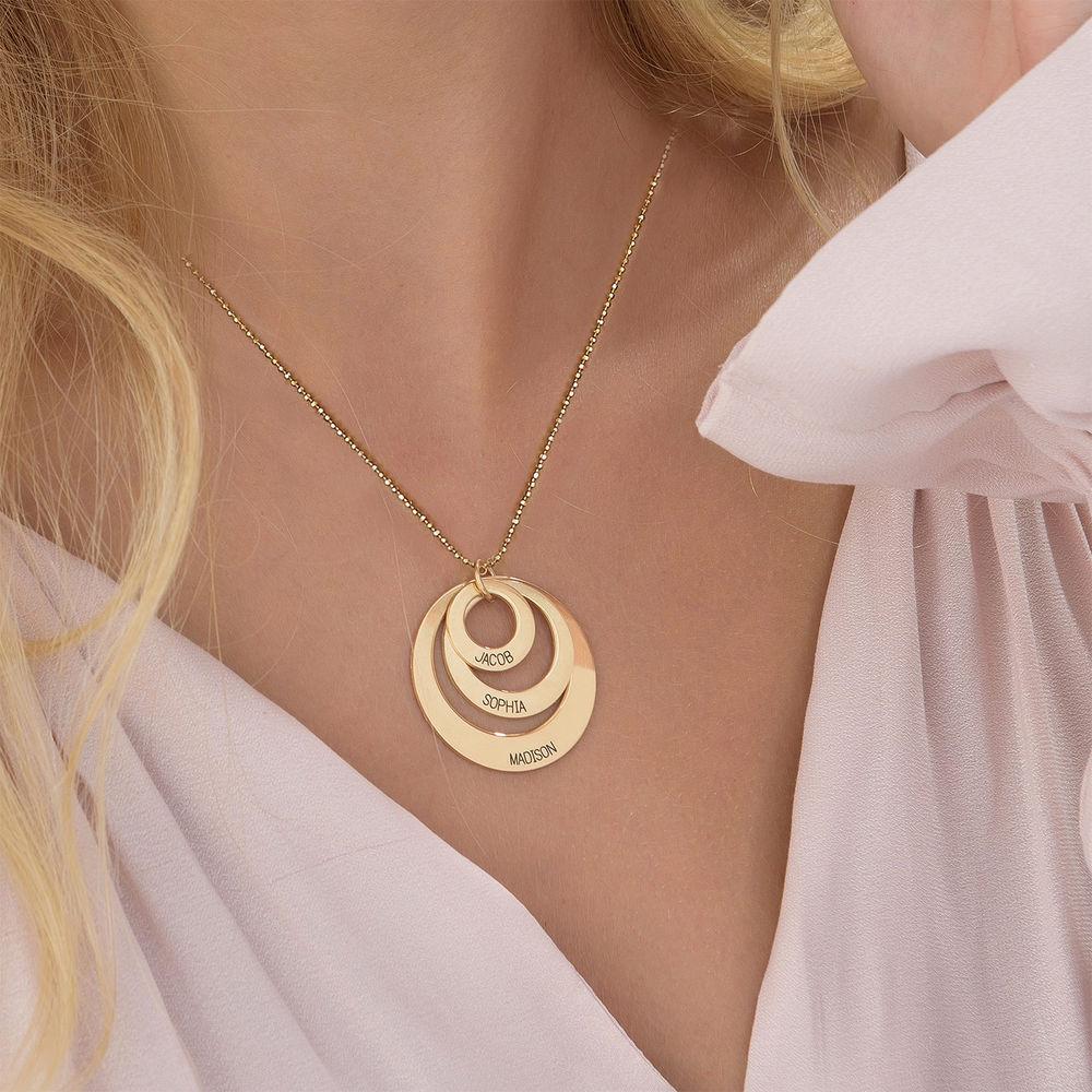 Gravierte 417er Gold Kette mit drei Ringen für Mütter - 3