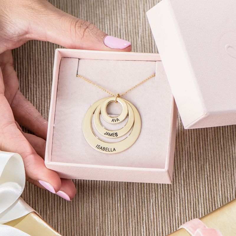 Gravierte 417er Gold Kette mit drei Ringen für Mütter - 4