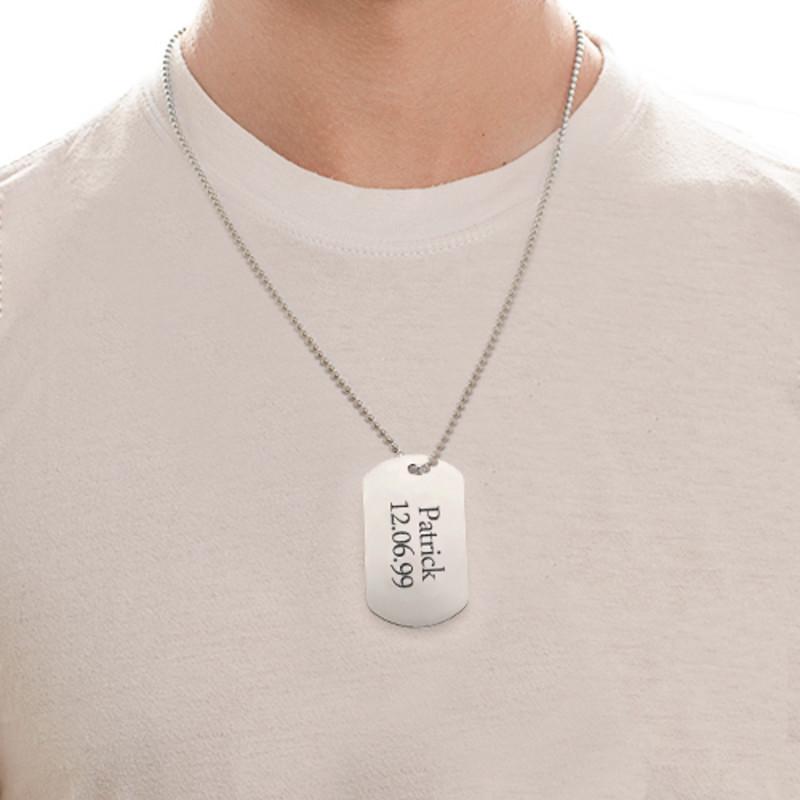 Gravierte Edelstahl Dog Tag Halskette - 1