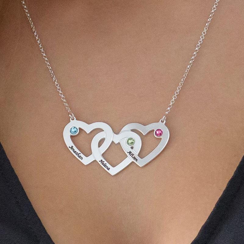 Verflochtene Herzkette mit Geburtsperlen - 3