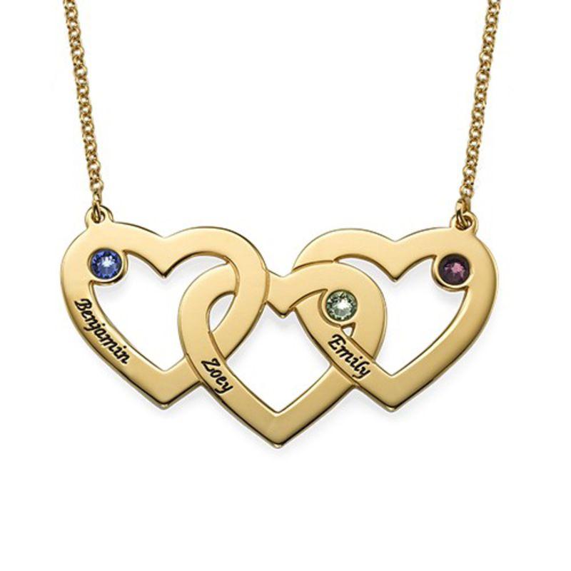 Vergoldete verflochtene Herzenkette für Mama mit Gravur und Geburtssteinen