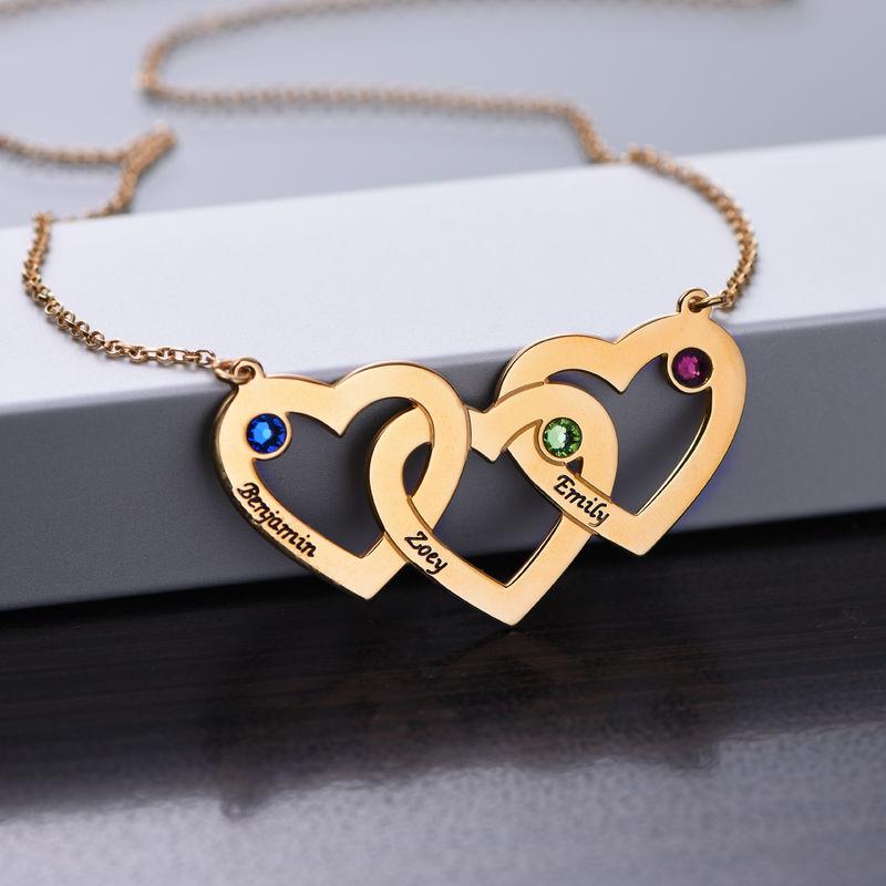 Vergoldete verflochtene Herzenkette für Mama mit Gravur und Geburtssteinen - 1