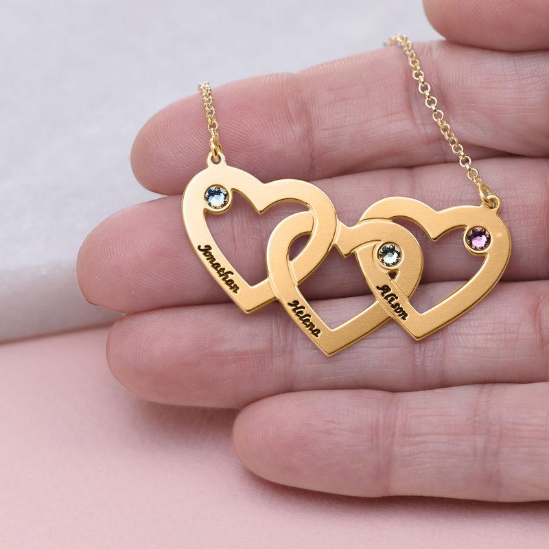 Vergoldete verflochtene Herzenkette für Mama mit Gravur und Geburtssteinen - 4