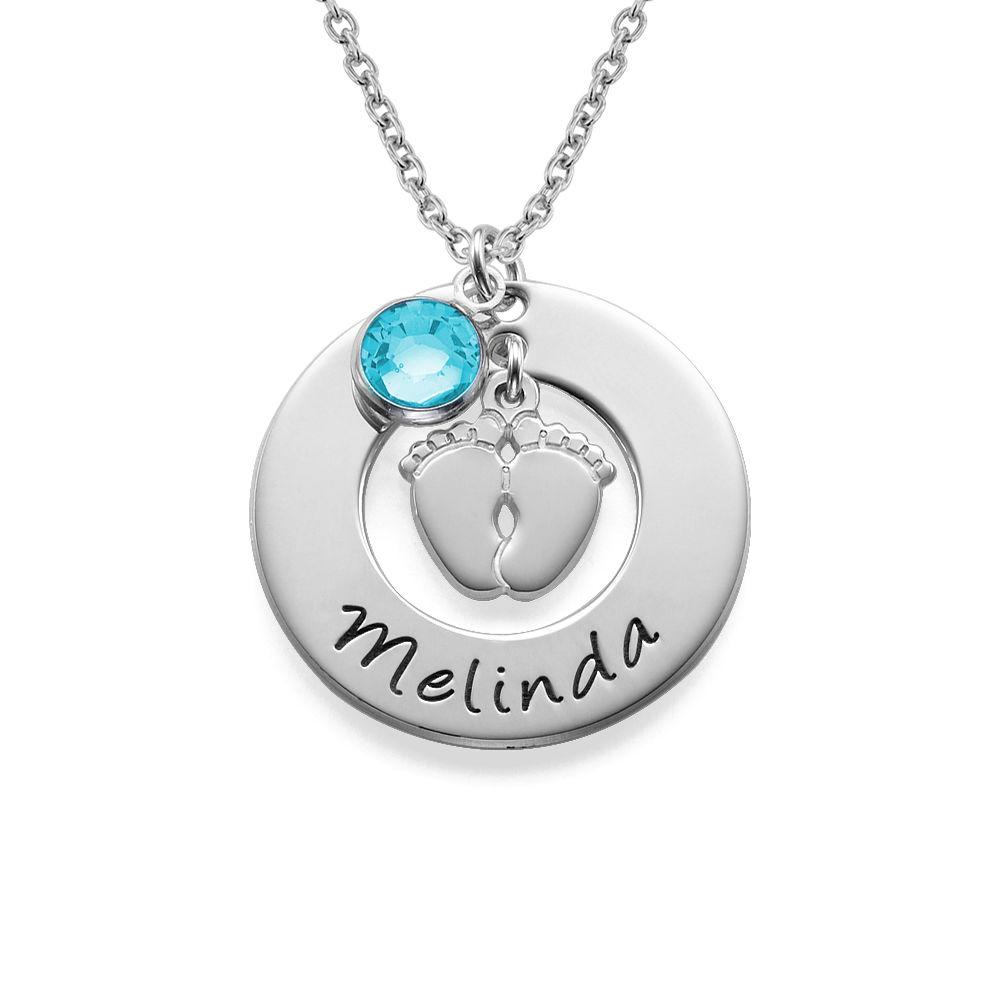 Babyfüße Halskette für Mama mit Geburtsstein