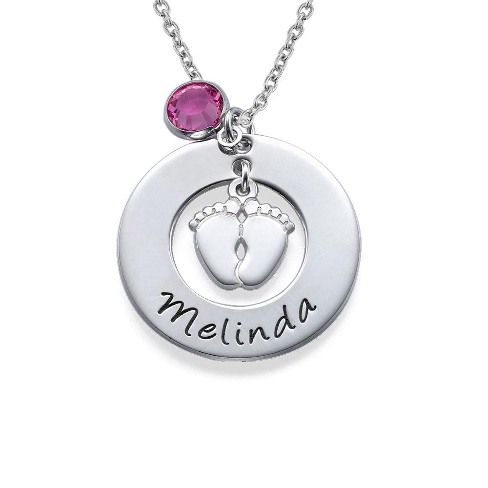 Babyfüße Halskette für Mama mit Geburtsstein - 1