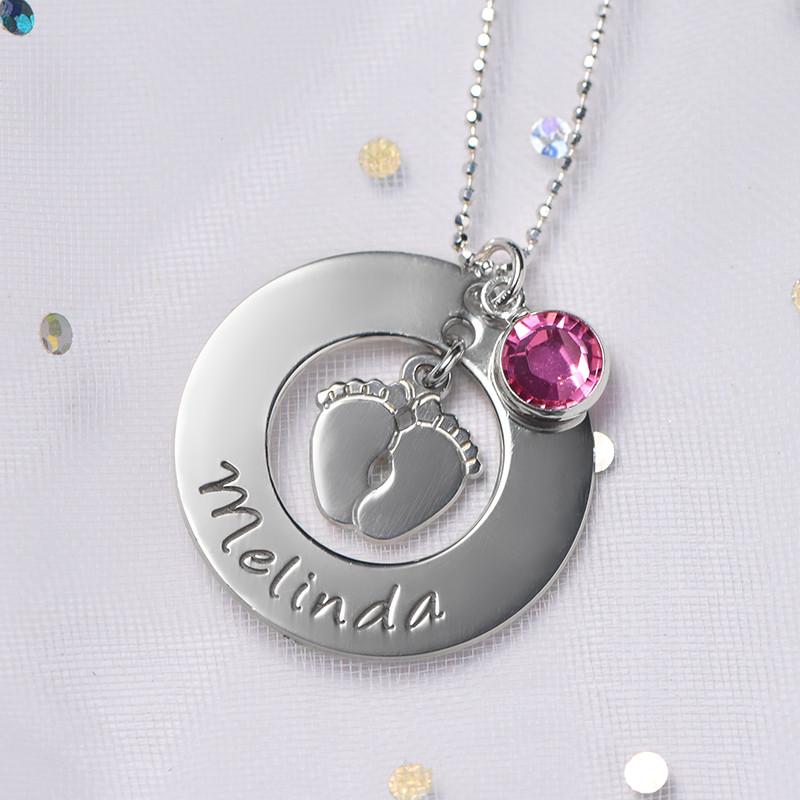 Babyfüße Halskette für Mama mit Geburtsstein - 4