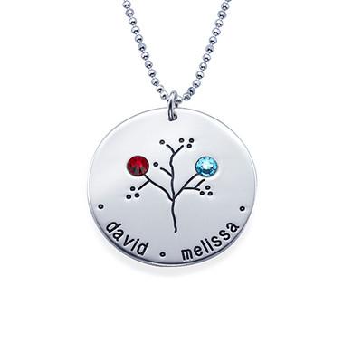 Familien Stammbaum Halskette mit Geburtssteinen - 2